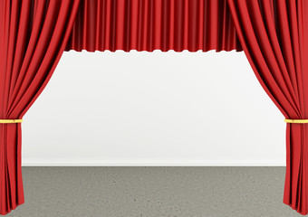 3d rendering of an empty room with Red theater curtain