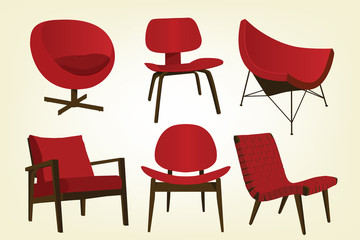 Vintage Red Chair Icons