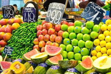 Autocollant pour porte Barcelona fruit stall in barcelona
