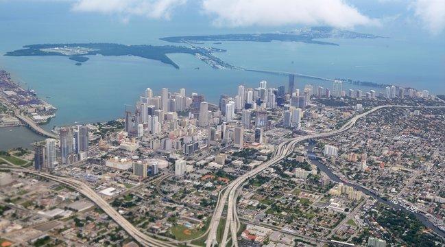 Miami city Downtown aerial view  blue sea