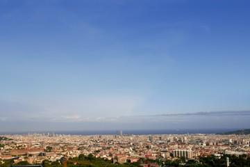 Barcelona skyline horizon from Tibidabo