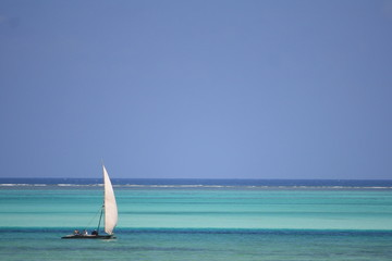 Dhow on turquoise waters