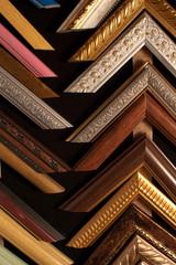 samples of wooden frames in shop