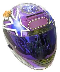 Papier Peint - casque intégral de motard fond blanc