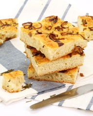 Bread slices focaccia with an onions and cheese
