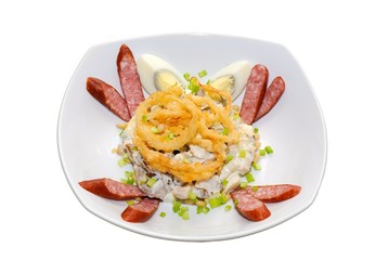 Salad with sausages eggs and mushrooms