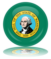 Washington Round Flag Button (Washingtonian State USA Vector)