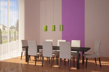 colored room with chairs and table