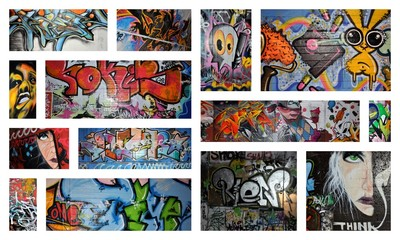 Photo sur Plexiglas Graffiti collage think