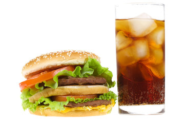 Double hamburger with vegetables and cold cola