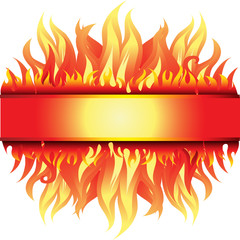 Vector beautiful frame background with fire