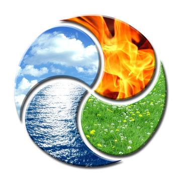 Vier Elemente wie Yin Yang