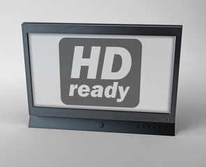 "Flatscreen TV with ""HD ready"" label on screen"