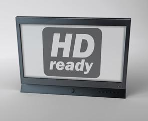 "Flatscreen TV with ""HD ready"" label on screen"