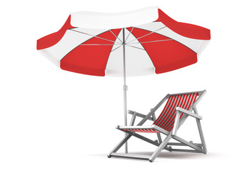 Deck chair and umbrella isolated on white. 3D rendered image