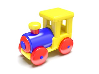 Cartoon toy train, isolated on white background