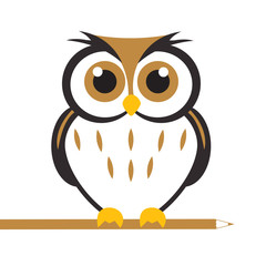 Aluminium Prints Owls cartoon Vector Cute Owl