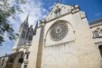 Angers Cathedral perspective. France