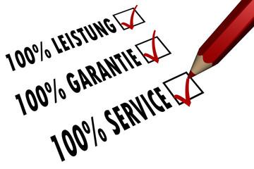 100% Leistung - Garantie - Service