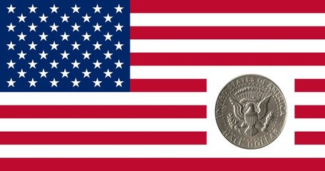 half  dollar on U.S. flag