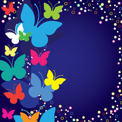 Blue background with butterflies, vector illustration