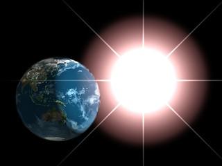 Earth and sun.