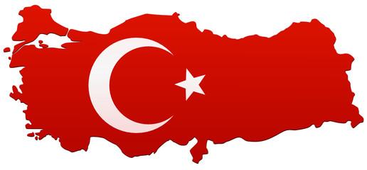 Carte de la Turquie drapeau (détouré)