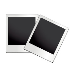 two instant photo with black space with place to your own image