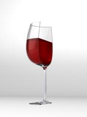Halbiertes Weinglas - 3D Render