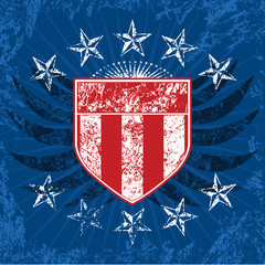 Red White and Blue Grunge Shield