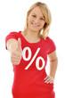 Junge Frau im Sale-Shirt Daumen rauf