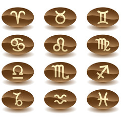 Zodiac astrology signs button set