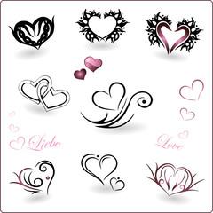 Valentinstag, Herz, Herzen, Liebe, Vektor Set, love