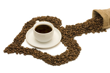 Cup from coffee on coffee grains isolated