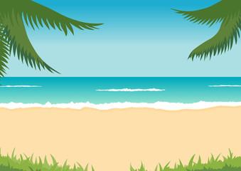 tropical landscape - beach, sea, waves, palms