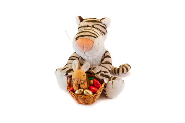 Tiger toy with the easter bunny and easter egg