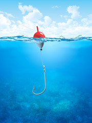 Float, fishing line and hook underwater