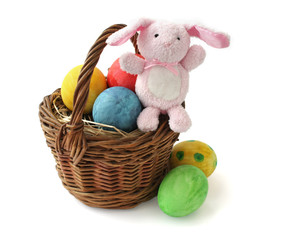 Painted Easter eggs and a rabbit in a basket