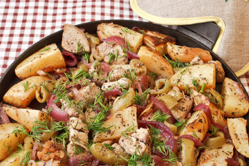 Fried potato with pork in a frying pan