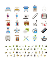 Airport, travel and transportation icons -  vector icon set