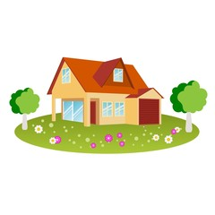 House with flowers, trees and grass in vector format