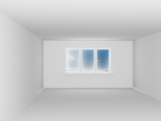 Empty white room with window. 3D image