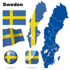 Sweden vector set. Shape, flags, icons.