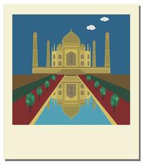 Old vintage photo with Taj Mahal, famous landmark of India