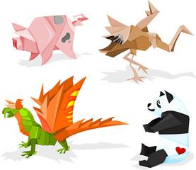 Funny paper animals, origami