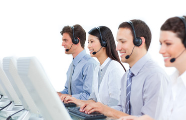 International business people talking on headset