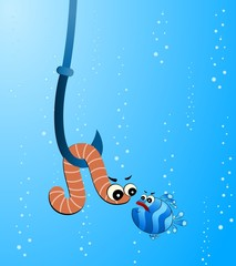 little cartoon funny fish eats a worm
