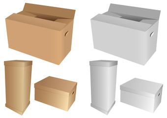 Set of 3d cardboard boxes