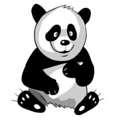 Funny bear panda isolated on a white background