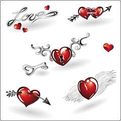 Valentinstag, Ehe, Herz, Flügel, Pfeil, Liebe, love, Set